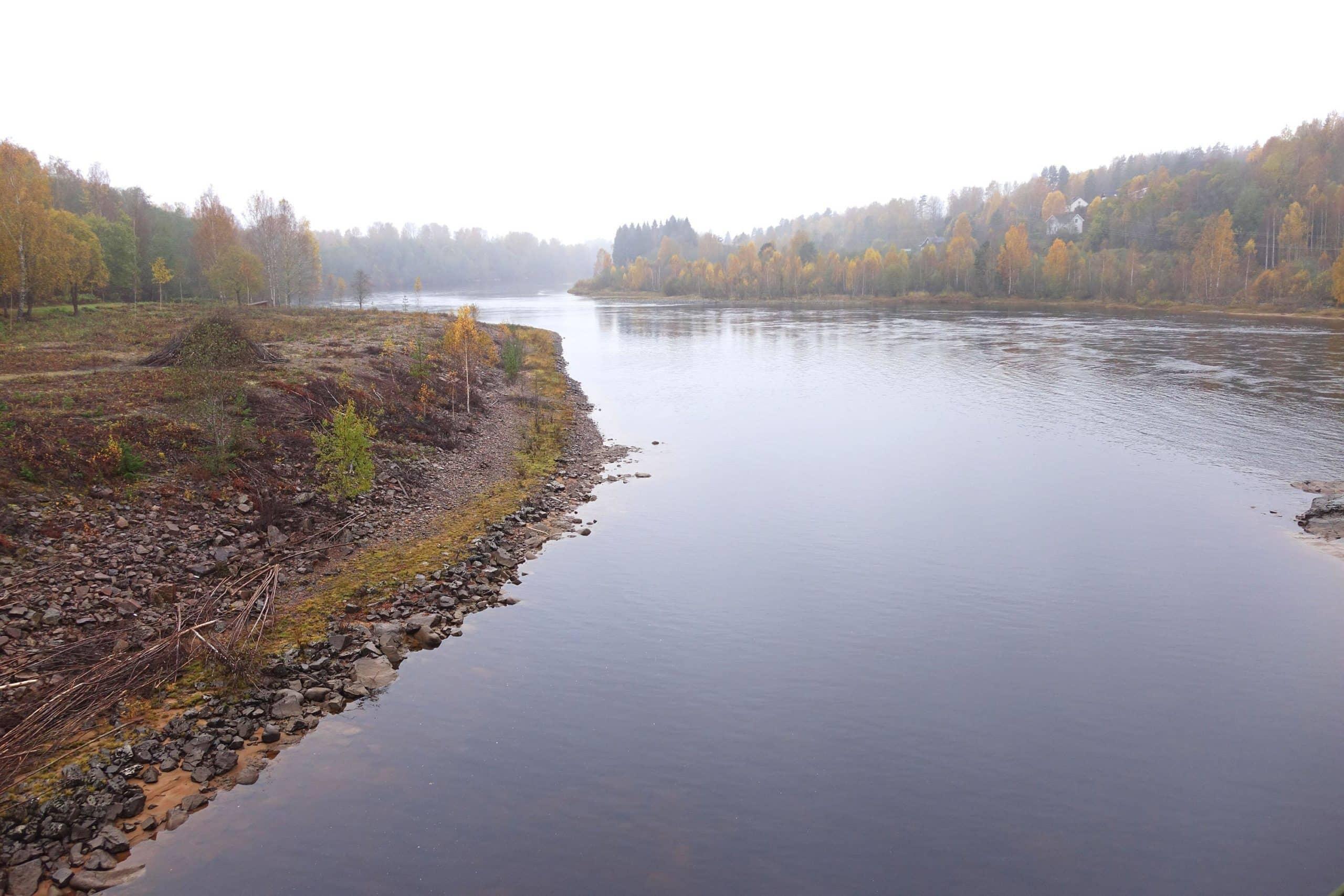 Vy över Klarälven. På östra sidan syns en stenig älvbrink som skulle översvämmas vid ett dammhaveri och på den västra sidan är älvbrinken fylld med träd.