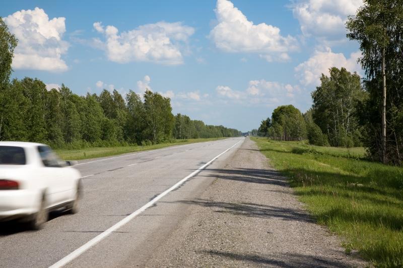 En vit bil kör på en asfalterad väg omgiven av gröna träd.