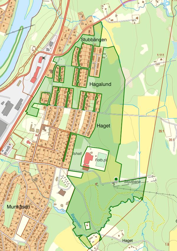 Kartbild som visar området som berör Hagalund 1:11.