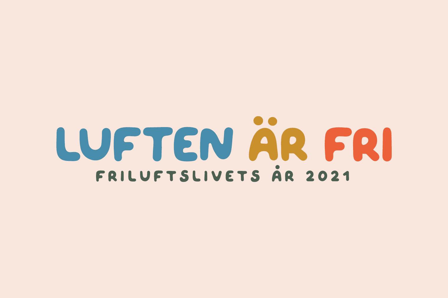 Logotyp med texten luften är fri, friluftsårets år 2021